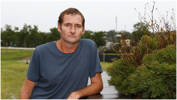 Gold Coaster Adam Emery, 36, is dying from an aggressive form of silicosis after 20 years as a stonemason. He's calling for a ban on engineered stone in Australia. Photo: Tertius Pickard